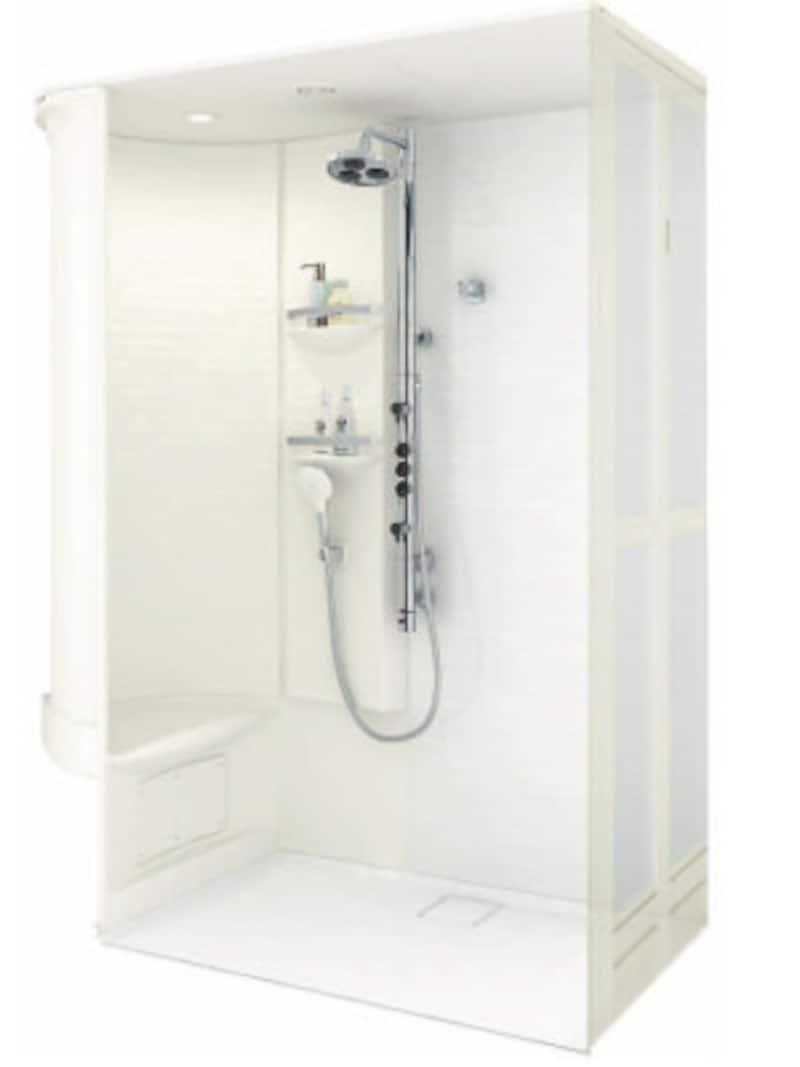 3つのシャワーを楽しめるシャワーバーを組み込んだシャワールーム。[シャワールーム 0816 Gタイプ] TOTO https://jp.toto.com/