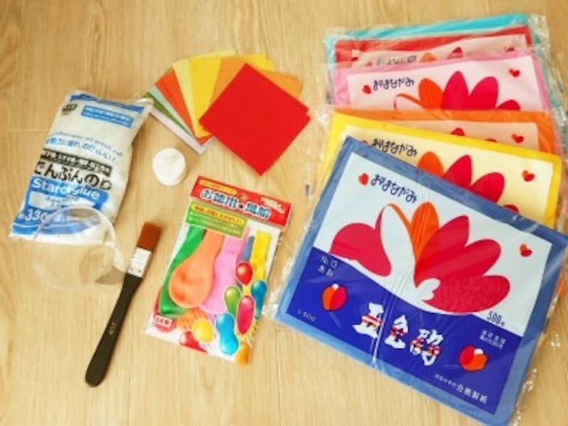 手作りランプシェードで使うお花紙や和紙は100均でも売っているよ!