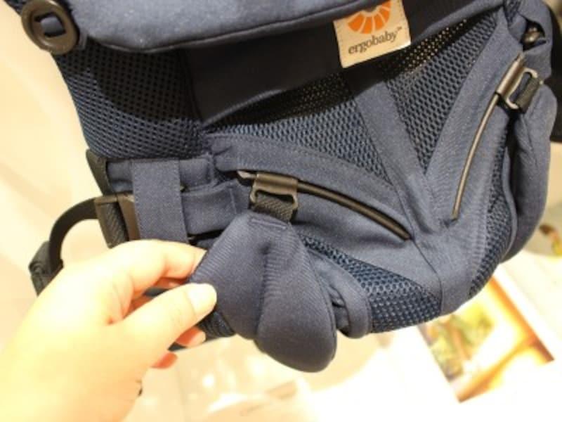 対面抱きのときはスライダーを上に、前向き抱きのときは下にスッと移動させるだけ。片手で簡単にできるので、抱っこしたまま抱き方を変えられます