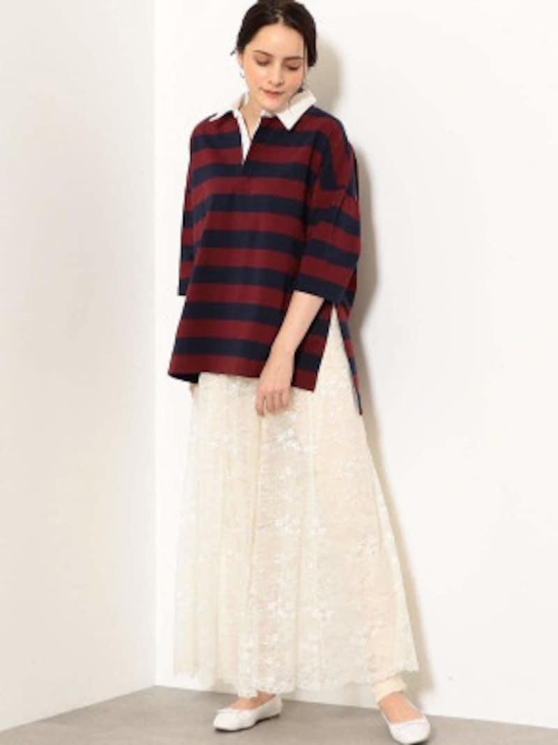 ワイン色と紺色のボーダー柄ラガーシャツ。柔らかい白を合わせるとトレンド感がアップします(画像はAmazonより:http://amzn.asia/2eY0YJ1)