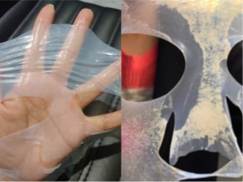左が使用前で右が使用後。マスクについた白いものが余分な皮脂やメイク汚れ、古い角質などの老廃物