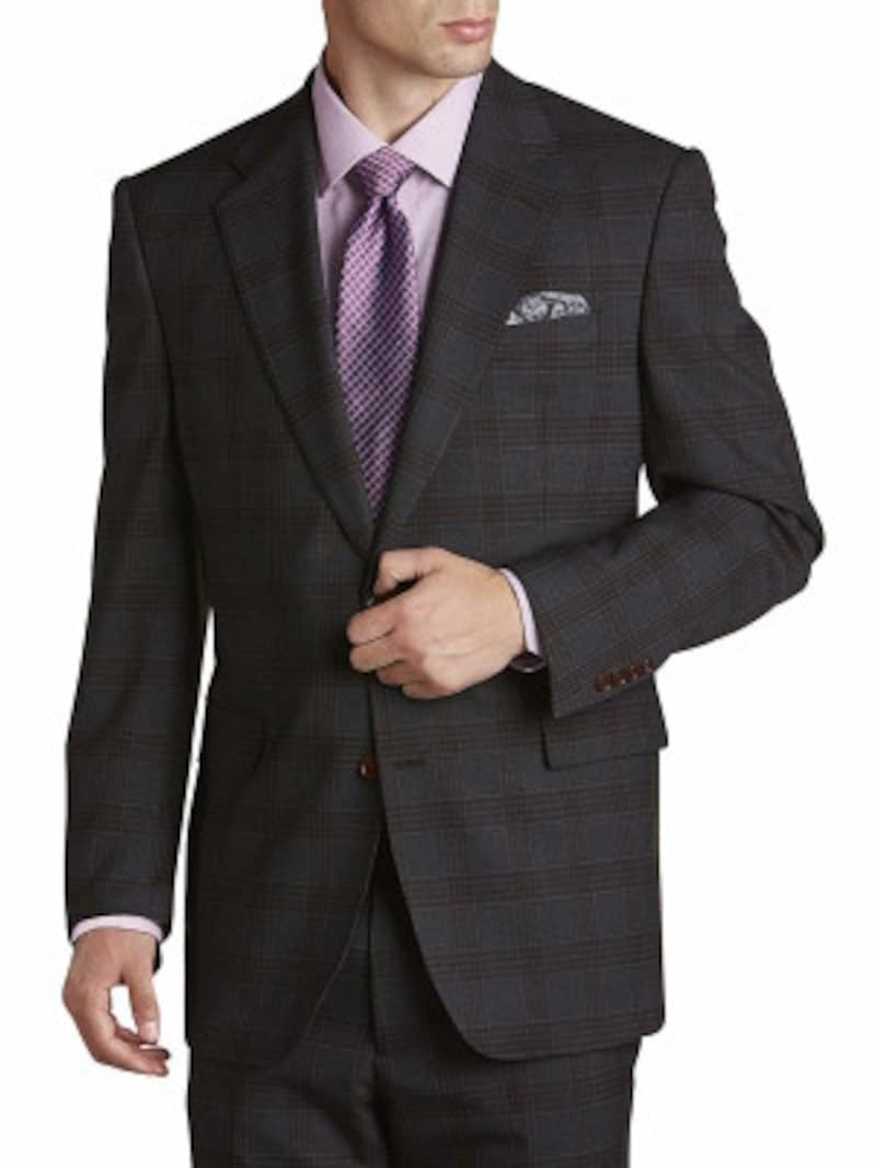 チャコールグレースーツの着こなし例:チェック柄のスーツに、淡いパープルのシャツ、パープルの小紋柄ネクタイを合わせています(画像はAmazonより:http://www.amazon.co.jp/dp/B079K88QM7/?tag=aajg-369-22&linkCode=as1&creative=6339)
