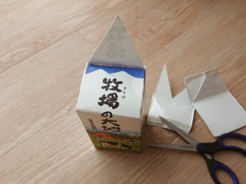 残した1面でトンガリ帽子の形に切り、後の1面は切り落とす