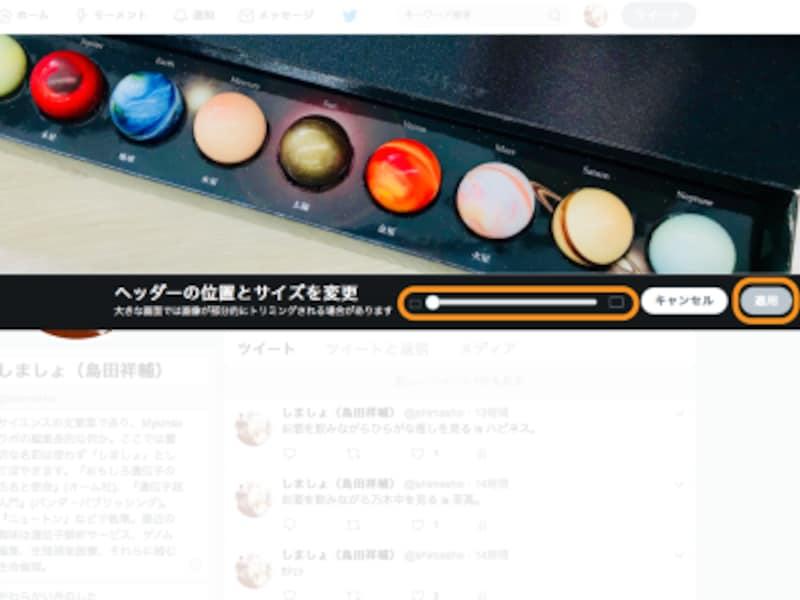 スライダで大きさを変更でき、画像を動かして位置を変更できる。位置を整えたら[適用]をクリック