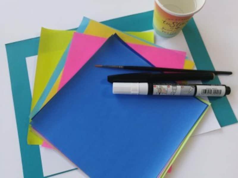 折り紙「ちぎり絵」で必要な材料は100均・文房具屋など身近な場所で手に入ります。