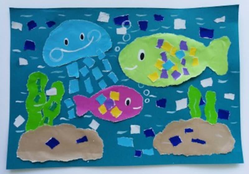 海水浴、花火大会、スイカ割り、盆踊り、水族館や動物園……など自分の思い出を折り紙で作る「ちぎり絵」で表してみませんか