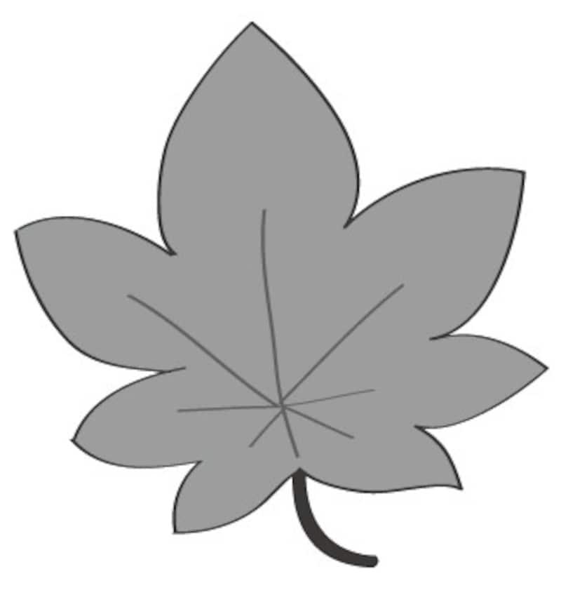 秋 イラスト 紅葉 白黒 かわいい