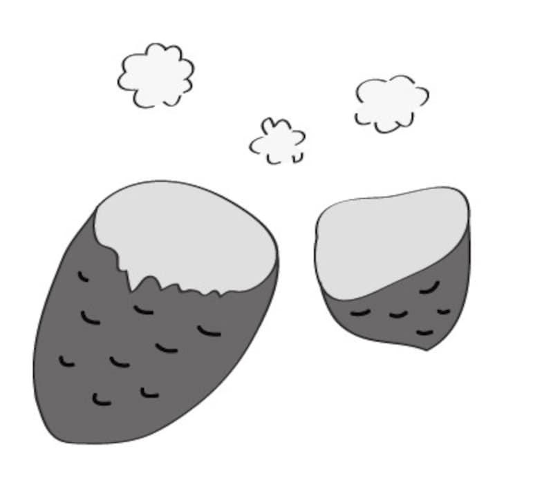 秋 イラスト 焼き芋 白黒 かわいい