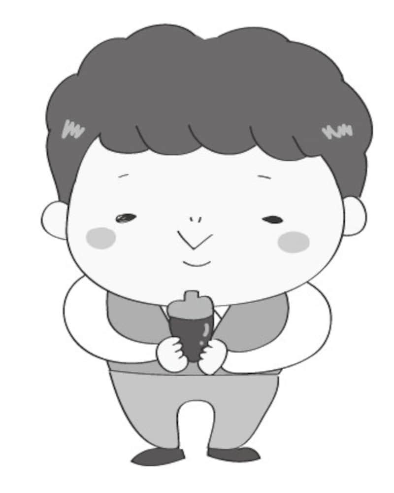 秋 イラスト 男の子 白黒 かわいい どんぐり