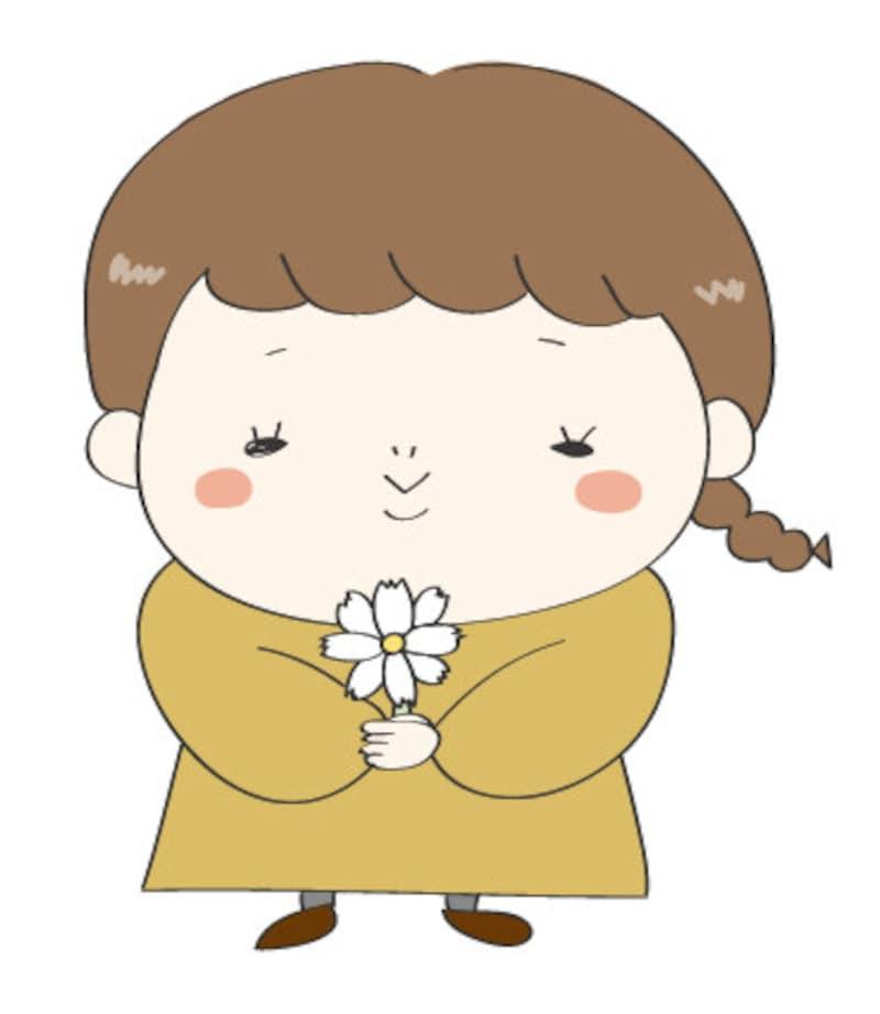 秋 イラスト 女の子 カラー かわいい コスモス