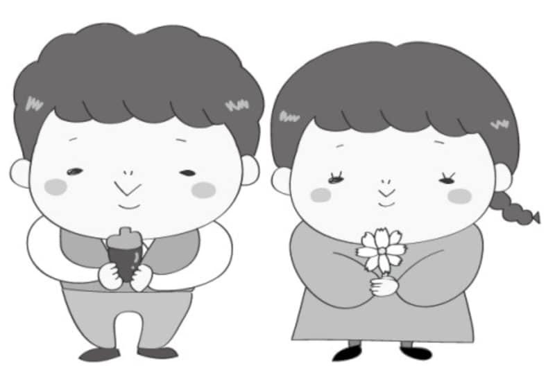 秋 イラスト 男の子 女の子 白黒 かわいい
