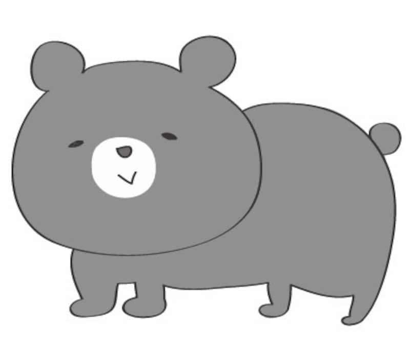 秋 イラスト クマ 白黒 かわいい