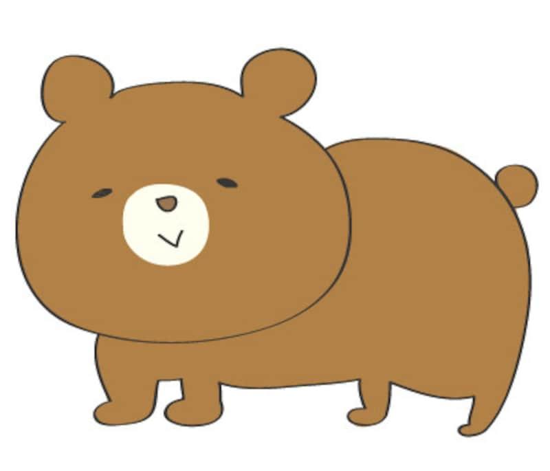 秋 イラスト クマ カラー かわいい