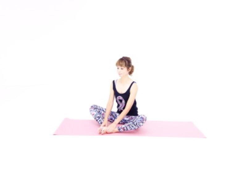 バッダ・コーナアサナ1 足裏を合わせ臀部、太腿をほぐします