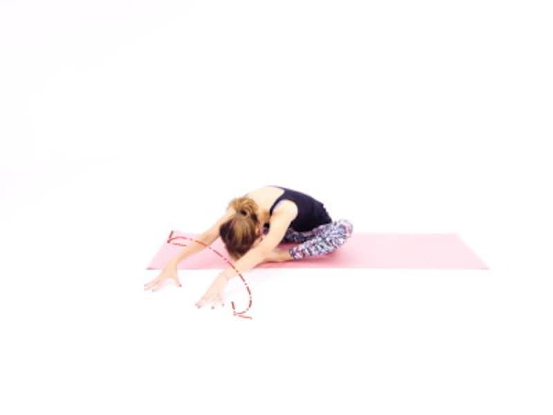 バッダ・コーナアサナ3 指先を床につけ、左右に移動させながら、臀部から上半身をほぐします