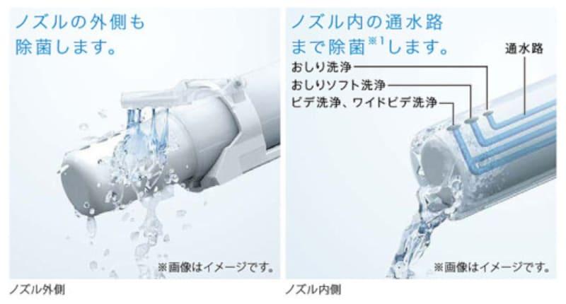 使用前後に水でノズルを洗浄する「セルフクリーニング」、「きれい除菌水」で使用後にノズルの内側と外側を自動で洗浄・除菌。使用していないときも定期的に「きれい除菌水」でノズルを洗浄。[ノズルきれい] TOTO https://jp.toto.com/