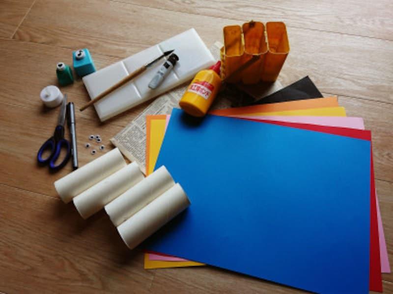 トイレットペーパー芯で作るハロウィン工作の材料紹介