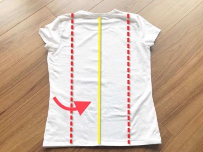 半袖Tシャツのたたみ方・手順1:赤の点線が身幅の約4分の1。黄色の直線が中心線