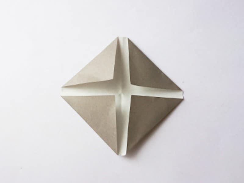 真ん中の線に合わせて折るではなく、十字架となる部分を開けて折る