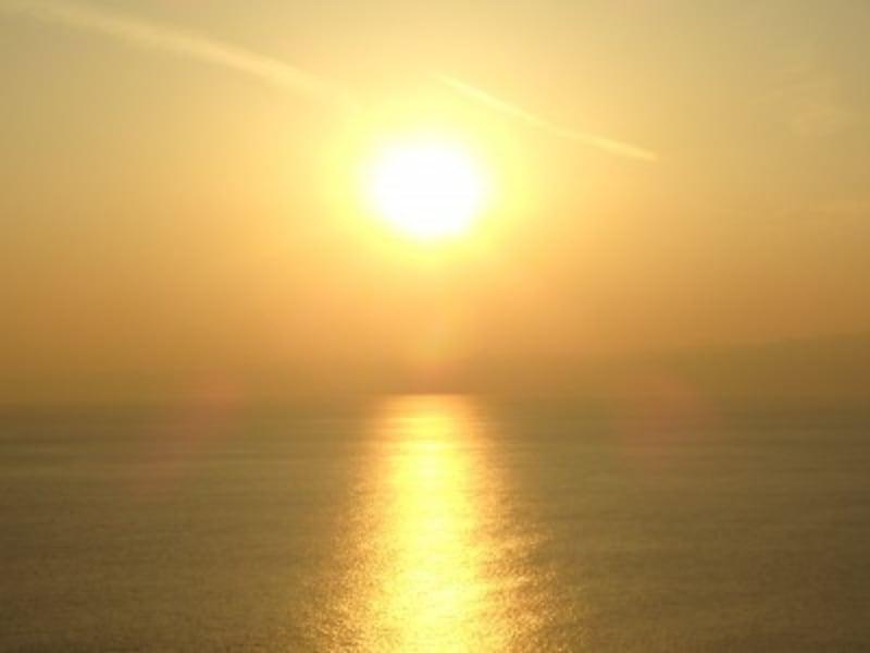 海に沈んでゆく夕陽