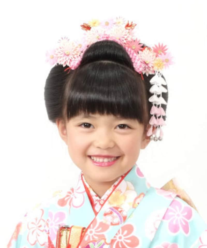 子供らしくて可愛い日本髪が人気です
