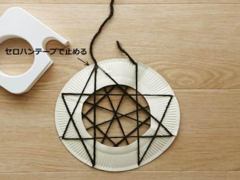 3cmほど毛糸に余裕を持たせてから、紙皿の切り込みに引っ掛けていく