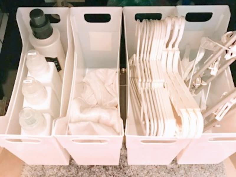 キャンドゥのおすすめ収納グッズ:ファイルボックスを洗面台下で洗濯用品の整理収納に使用