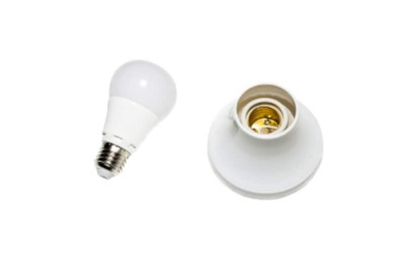 電球(左)の下側にある金具が口金。この口金のサイズとソケット(右)のサイズが合わないと電球を交換できません