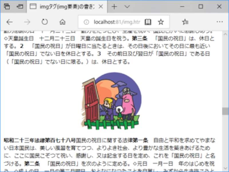 画像をセンタリング(中央寄せ)した配置の例
