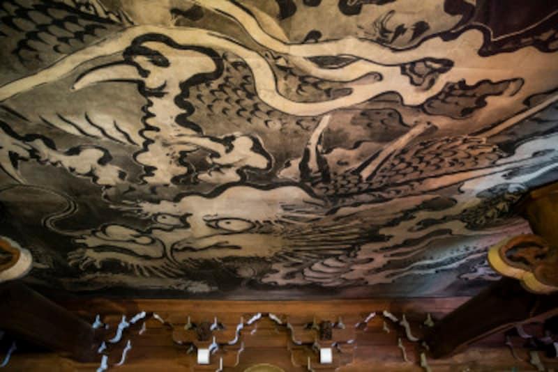 山門の楼上内部の天井画