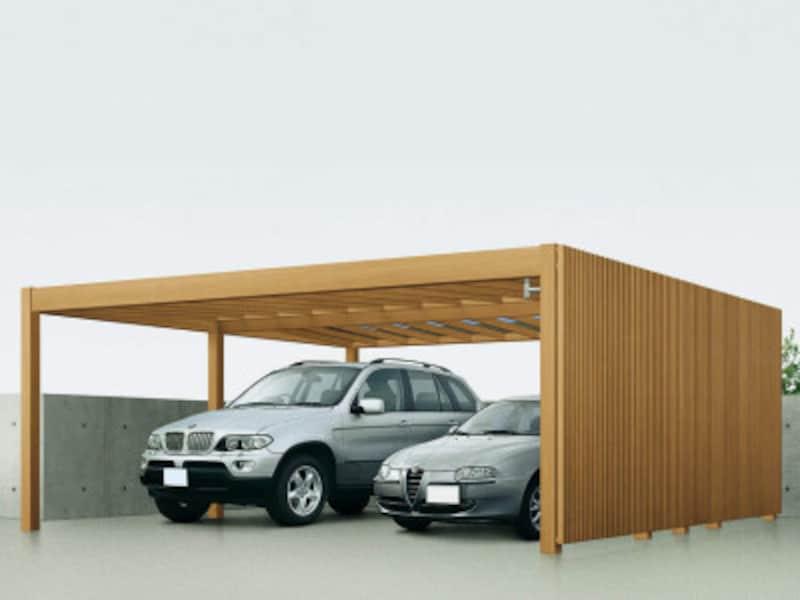 建物の外観とコーディネートできるデザインのカーポート。ハニーチェリーやキャラメルチークなどの色合いも魅力。[リレーリア〔パッケージ〕カーポート基本セット2台用54-50YF(ポリカ屋根ふき材アースブルー)リレーリアスクリーン2N型YF] YKKAPhttp://www.ykkap.co.jp/