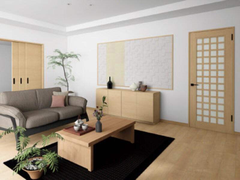 格子デザインの室内ドアや引き戸を組み合わせて、和を感じるナチュラルな空間を実現。[InterioラシッサSクリエ 施工例 室内ドア LGS クリエペール]LIXIL http://www.lixil.cojp/