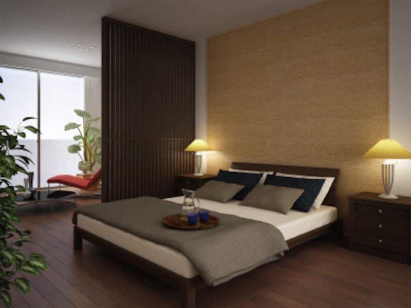 室内の空気も爽やかとなり、梅雨時などのジメジメ感も和らげるので寝室にも。[調湿壁材さらりあ~とテキスタイル] DAIKENhttps://www.daiken.jp/