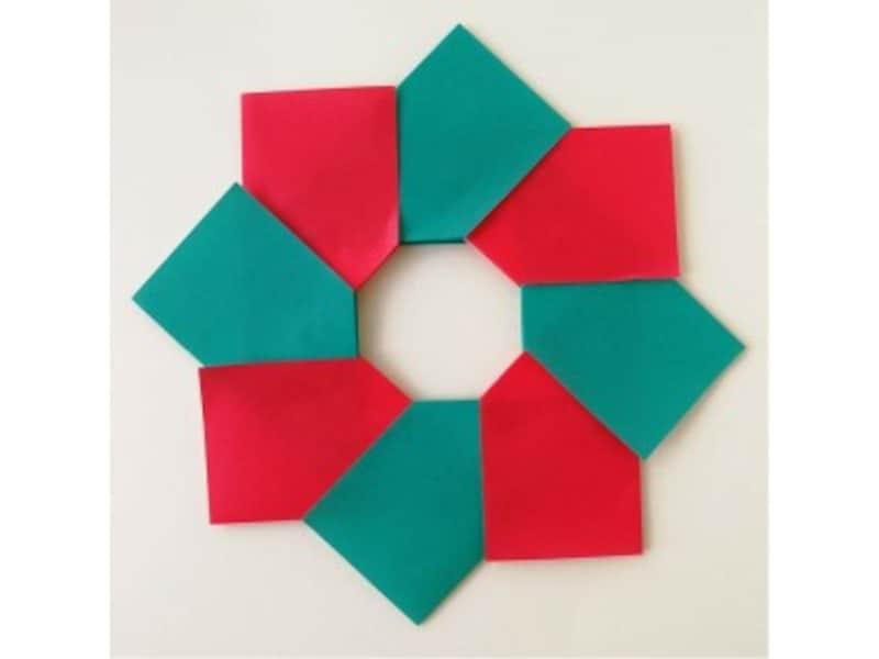 折り紙リース土台(8枚)クリスマスリース完成!クリスマスやハロウィンに