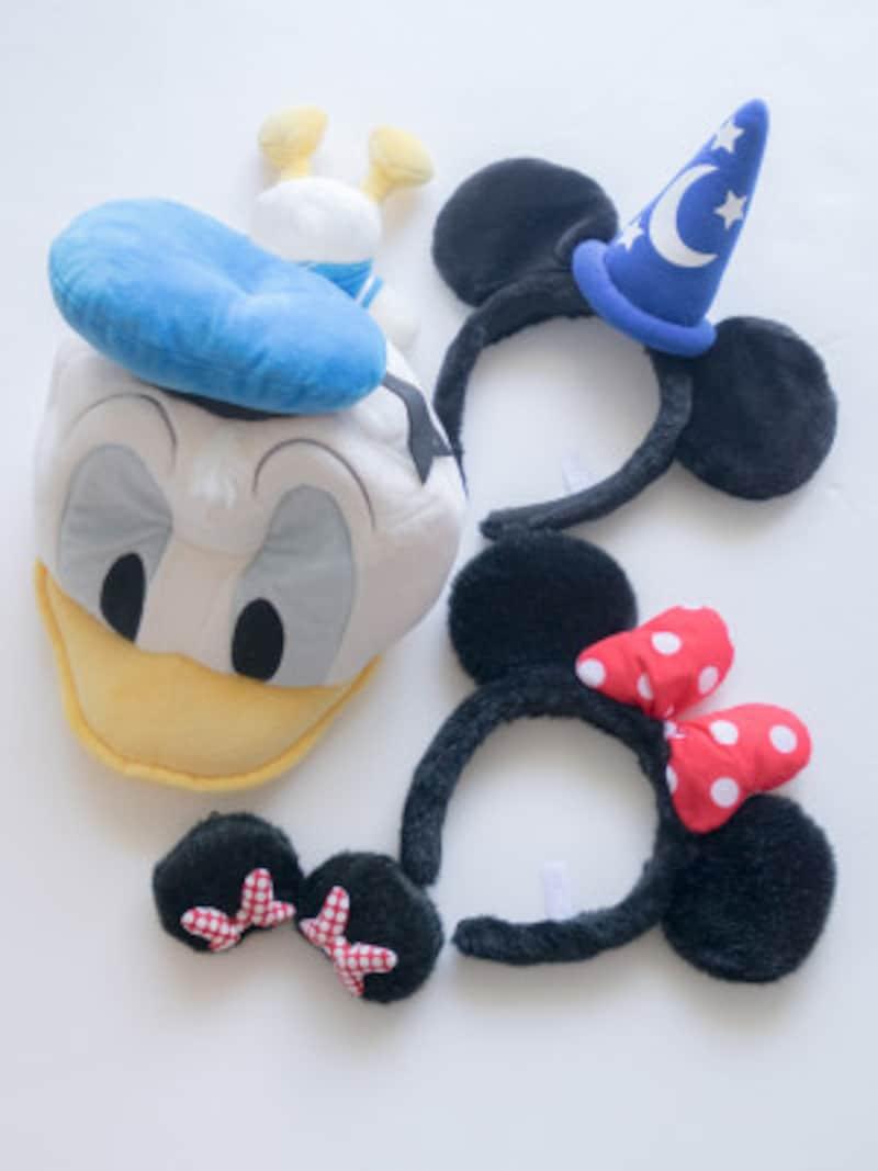ディズニーの髪型に使用。ミッキー ミニーカチューシャ、ドナルドダックのキャップ、ミニーの耳ヘアピン