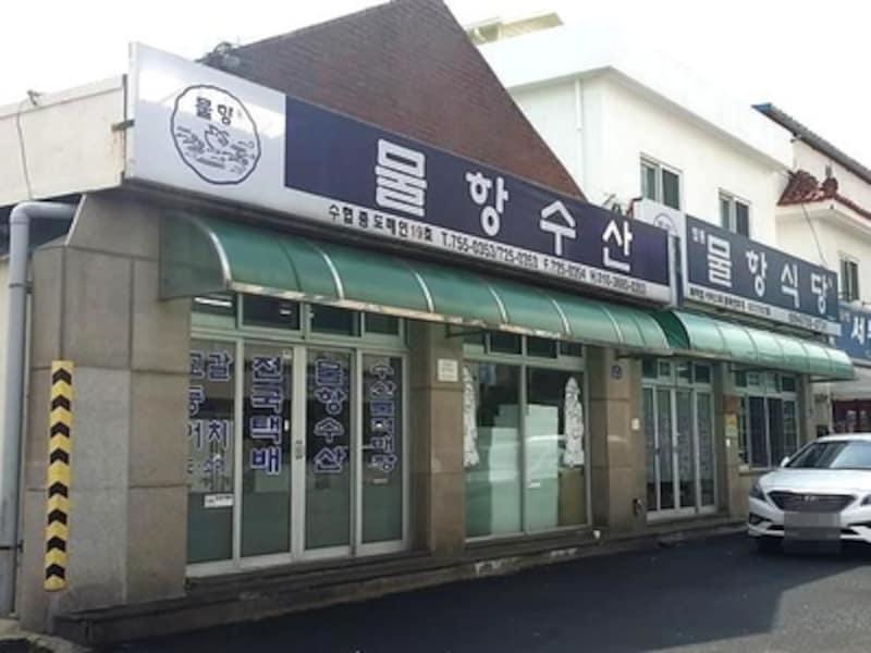 食堂のすぐお隣は海産物販売専門ビルと海があります。新鮮な魚介類を扱わないはずがない!という距離。