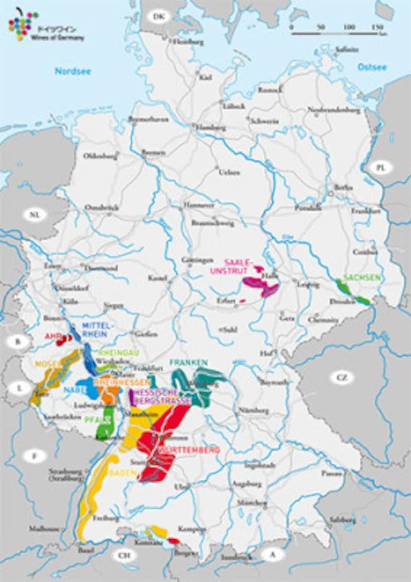 ドイツワイン生産地分布図