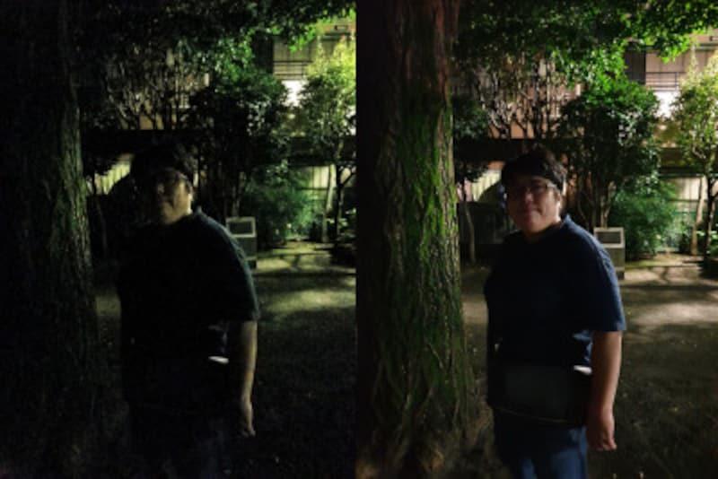 ほぼ真っ暗な公園で撮影しました。「GalaxyNote8」(左)は暗くノイズが目立つだけでなく、人物の肌の色も周囲の緑に引きずられていますが、「GalaxyNote8」(右)ではノイズが抑えられているだけでなく。人物もより鮮明に写っています