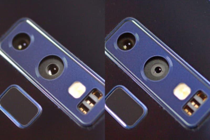 右側のメインのカメラの絞りが、シーンにあわせてF1.5(左)またはF2.4(右)に機械的に切り替わり。暗いシーンでより多くの光を取り込むことができます。