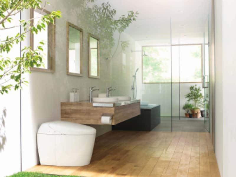 便器標準洗浄水量(床排水:大3.8L/小3.3L 壁排水:大4.8L/小3.6L)、セルフクリーニング、セフィオンテクト、オート便器洗浄など機能充実のタイプ。低水圧対応。[ネオレストRH1] TOTO https://jp.toto.com/