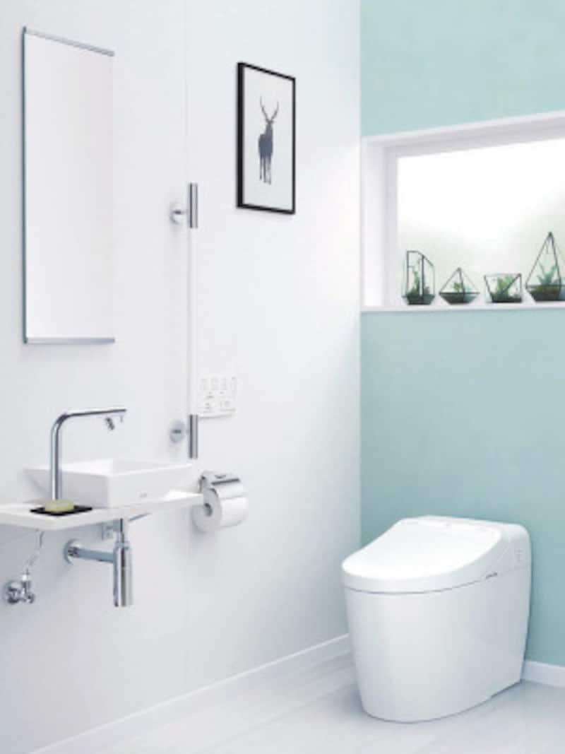 便器標準洗浄水量(床排水:大3.8L/小3.3L 壁排水:大4.8L/小3.6L)、セルフクリーニング、セフィオンテクトなど充実の機能。低水圧も対応。[ネオレストDH2] TOTO https://jp.toto.com/