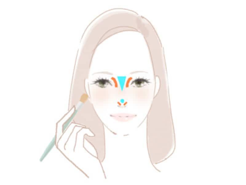鼻筋の青い線(ハイライト)に光を集めて、鼻の横のオレンジ色の線(シェーディング)で影を強調する