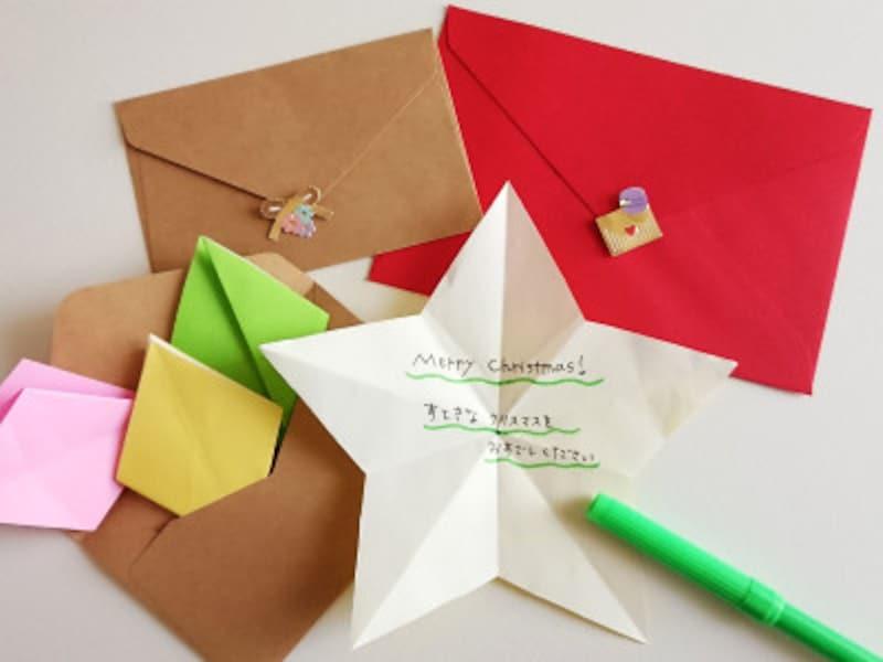 折り紙星1枚、裏にメッセージを書くと、かわいい手紙やメッセージカードになる