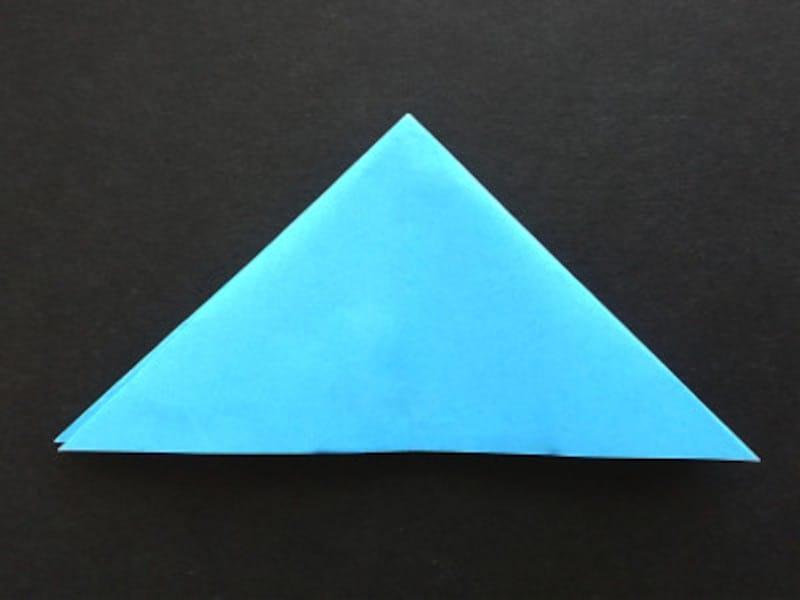 折り紙星1枚の作り方、正四角形から三角形にする
