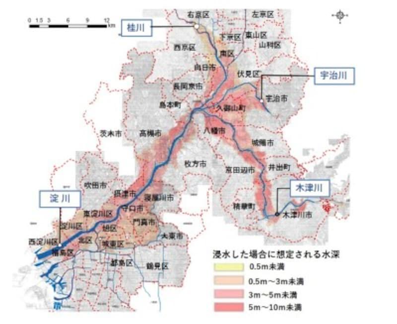 【図2】淀川水系洪水時の浸水想定区域(想定最大規模)(出典:国土交通省)を加工して作成