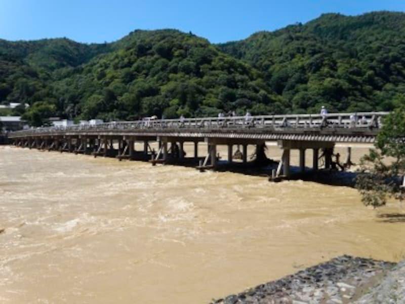 京都嵐山桂川の洪水被害の様子(2013年9月17日撮影)