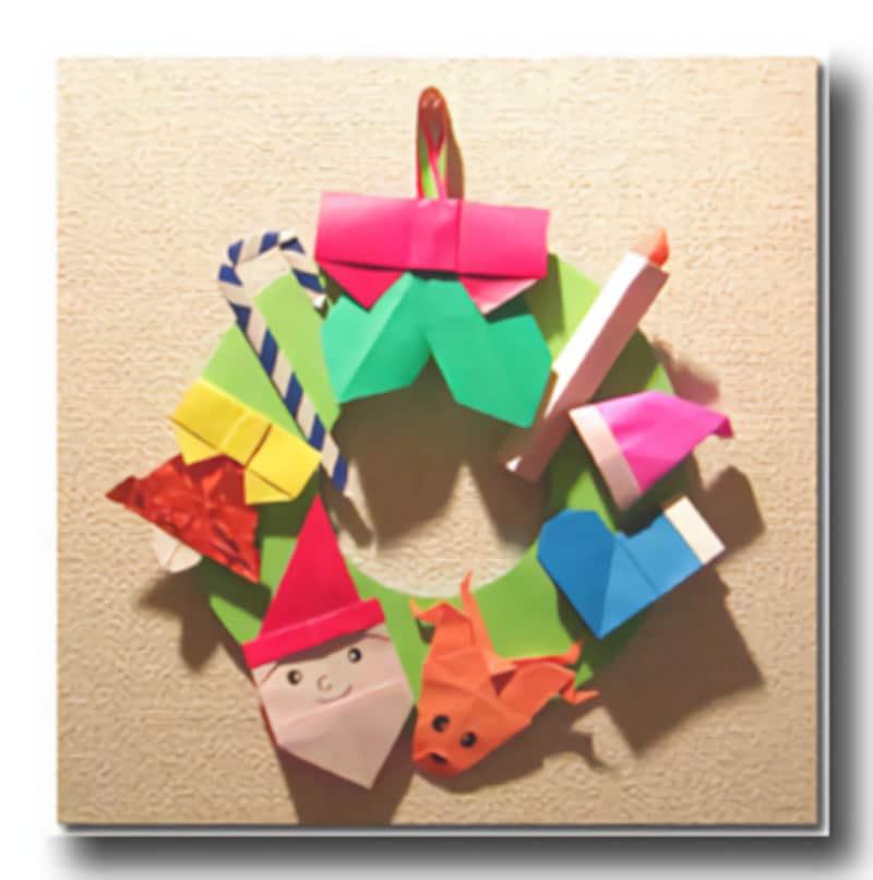 クリスマス製作・工作『折り紙クリスマスリース』