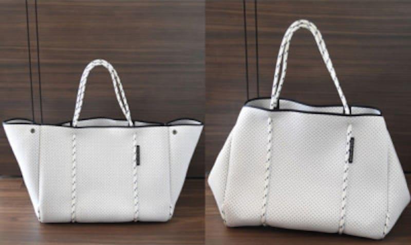 ネオプレンバッグは、サイドに付いたスナップで、デザインを変えられる