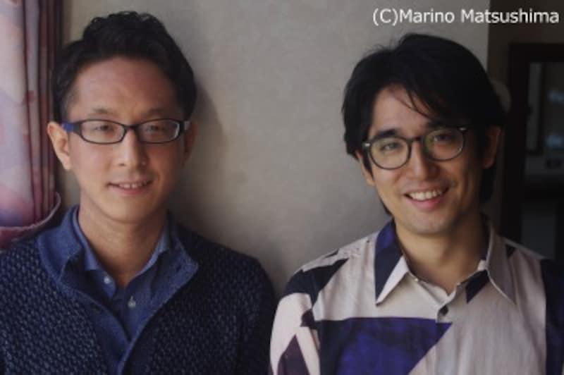 (右)上田一豪・84年熊本県生まれ。劇団TipTapを旗揚げ、オリジナル作品を作・演出。東宝演劇部契約社員として様々な大作にも携わる。(左)小澤時史 89年生まれ。東京音楽大学作曲家在学中から多方面に楽曲を提供。『キューティー・ブロンド』等の音楽監督も勤める。(C)MarinoMatsushima