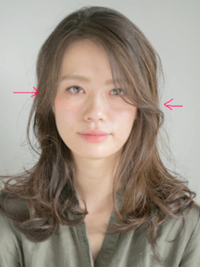 前髪は内巻きではなく後ろに流れるように